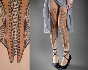 Tattoo Tights -  Elizabeth nude color one size full length printed tights closed toe pantyhose tattoo socks ,corset drawing