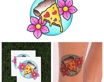 Slice of Life - Pizza Temporary Tattoo (Set of 2)