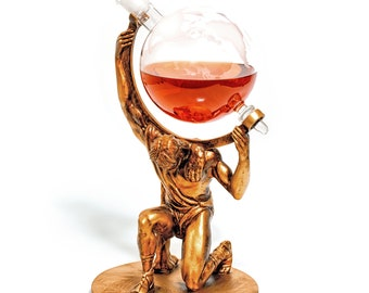 Atlas - Bearer Of Worldly Spirits - Etched Globe Decanter With Base 1000ml - Great Gift