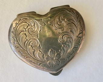 vintage chased sterling heart shaped pill box