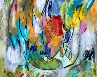 Calm Down - Mixed media on watercolor paper  - Colorful Affordable art