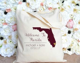 Florida Destination Wedding Welcome Tote - Wedding Welcome Bag - Orlando - Miami - St Petersburg