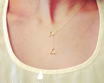 Wholesale - Tiny Triangle Lariat Necklace - Dainty Little Triangle Shape Charm, gold jewelry, lariat necklace, gift for, wedding jewelry