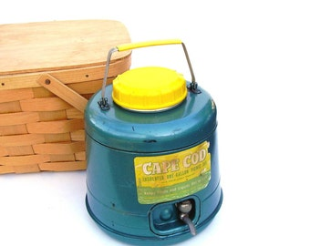 Vintage Cape Cod Picnic Jug Teal Yellow Metal Beverage Cooler Gallon Thermos Retro Advertising Beach Cottage