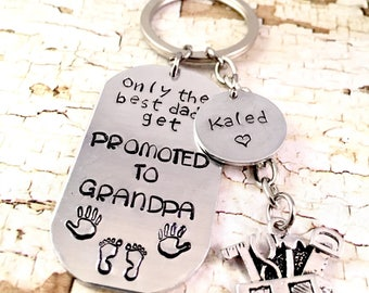 Best Grandpa Keychain, Tool Box Keyring, The best dads get promoted to Grandpa, Grandpa Keychain, Gift for Grandpa, Pregnancy Reveal