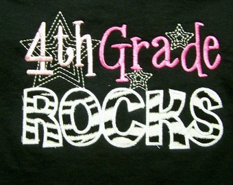 Trendy 4th Grade Rocks Fourth Grade Rocks School Shirt Zebra and Pink