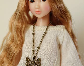 Lotus necklace  (square filigree) - Handmade jewerly for Momoko and 1/6 fashion dolls (9 colors)
