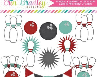 80% OFF SALE Bowling Clipart Clip Art Personal & Commercial Use