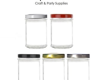 7.5 oz Flat Mason Jar with your Color choice of Lid : Black, White, Red, Silver or Gold