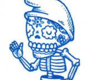 Blue Gnome Calavera Limited Edition Gocco Screenprint ACEO