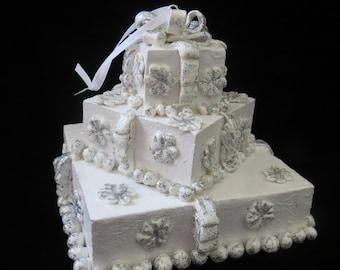 White Wedding Cake Christmas Ornament newlyweds gift