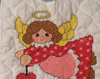 Hand Embroidered Baby Bib - Angel