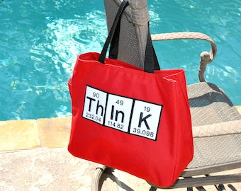 Periodic Table Red Tote Bag-think