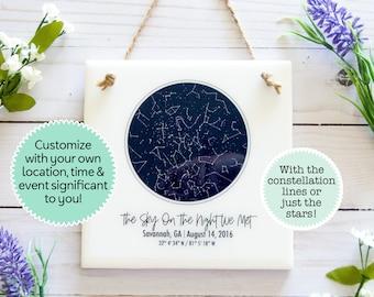Star chart personalized, star map custom anniversary gift, custom star print tile sign, night sky map, custom star map, constellation map