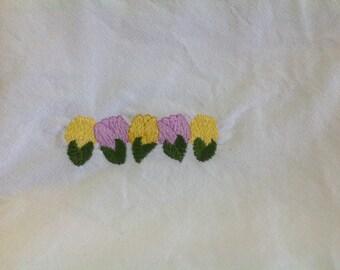 Purple & Yellow Tulip flour sack dish towel