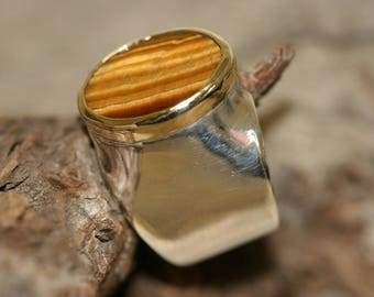Tiger Eye Silver Ring , Classic Solitire Silver ring, Silver and  gold Ring, Israeli Made Silver Jewelry, Big GemStone Ring, Size 7 1\4