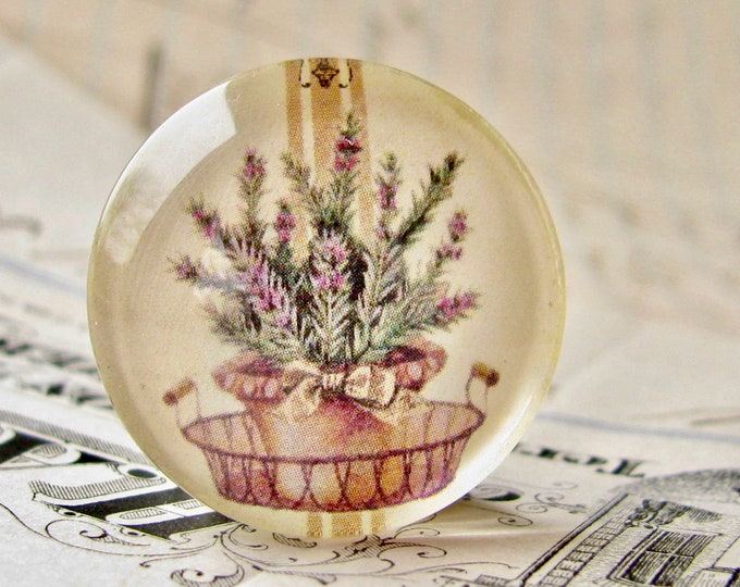 Flowering Rosemary, herbs from our Vintage Kitchen collection of handmade glass oval cabochons, 25mm circle, cooking, bottle cap 1 inch