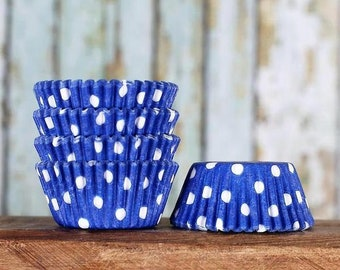 MINI Blue Polka Dot Cupcake Liners, Royal Blue Candy Cups, Mini Wedding Treat Cups, Mini Blue Liners, July 4th Mini Cupcake Liners (100)
