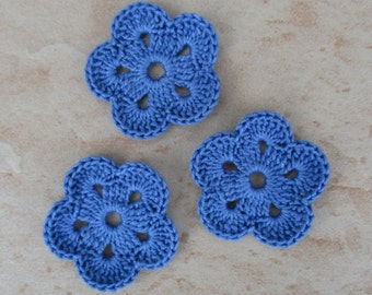 set of 3 Royal Blue 5 petals crochet flowers