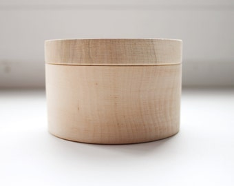 Round unfinished wooden box - with cover - natural, eco friendly - 80 mm diameter - B101-80