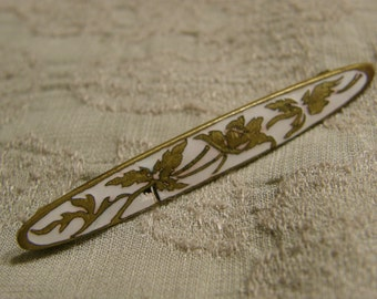 Vintage Art Nouveau style gilt and white enamel brooch circa the 1920s or 30s