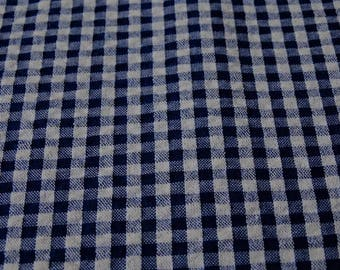 Gingham Navy Blue seersucker, Waffle sold by the yard