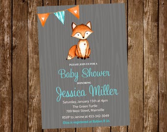 Woodland, Fox, Baby Shower Invitation - Printable or Printed