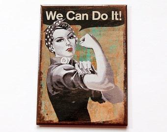 We can do it Magnet, magnet, Kitchen magnet, Magnet, ACEO, Fridge magnet, Locker Magnet, We can do it, Retro Design, WW2 design (5382)