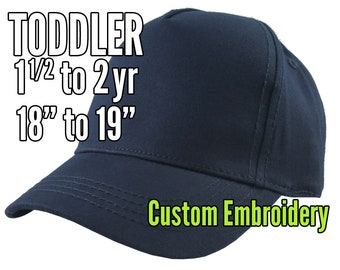Toddler Size 1.5 to 2yr Custom Personalized Embroidery Decoration on a Navy Blue Structured Baseball Cap +Options to Personalize Side + Back