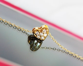 Sweetheart Cubic Zirconia Pendant, Gold-filled Tiny Heart Charm Necklace, Everyday Jewelry, Simply Beautiful, Wedding Necklace, Gift for Her