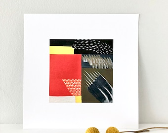 Colorblock American Robin Archival Print • 8 X 8 inches square • Abstract Art