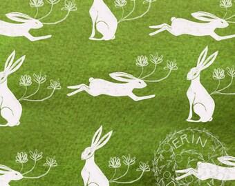 Instant Download, Digital Scrapbook Paper, Collage Sheet, Mixed Media, Junk Journal, JPG, Hares, Rabbits, Green