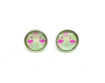Sterling silver 12 mm flamingo summer cute kawaii stud earrings ear studs