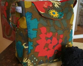 Knitting Bag, small, Vinyl Interior, Lots of Pockets, Vegan, flower, girls bag, women's bag, crochet organizer, medium bag, knitting project