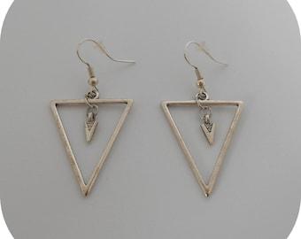 Earrings silver geometric triangle