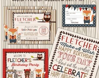 Woodland Animals  Birthday Party Kit, Custom Hipster  Woodland, Fox, Owl, Rabbit, Woodland Party Decorations and invitations