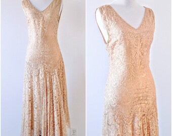 Vintage 1920's Gold Silk And Lace Dress | Vintage 1920's Lace Dress | Vintage Wedding Dress |