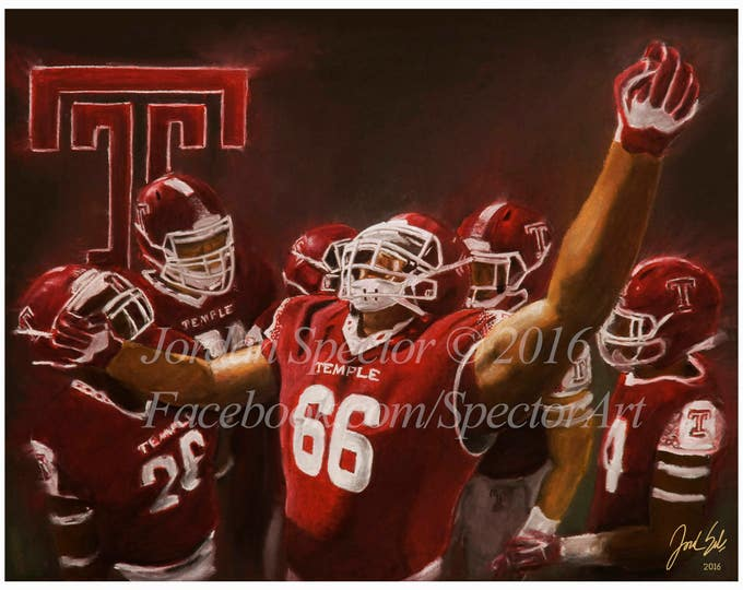 Temple Football Art Print - Temple Owls - Dion Dawkins - Temple University - Temple Dorm Decor - Wall Art- Man Cave - Gift Ideas