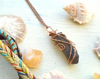 Smokey Quartz necklace, Raw Smokey quartz point pendant, Copper wire wrapped smokey quartz
