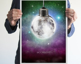 Moonlight,poster,print,original art,christmas,art,artwork,moon,space,geek,galaxy,stars,night,light,digital print,home decor,home