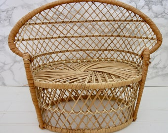 Vintage Wicker Miniature Peacock Chair Plant Stand