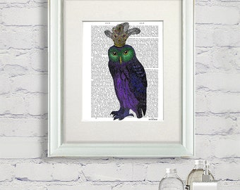 Purple Owl Print - bird illustration owl illustration owl painting owl picture owl decor bedroom décor living room art print dining room art