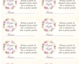Printable diaper raffle tickets, diaper raffle cards download, baby shower insert card, invitation insert card, floral diaper raffle tickets