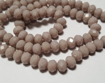 40pc 4x6mm Taupe Opaque Faceted Glass Rondelle Beads, faceted beads, taupe glass beads, taupe beads, opaque glass, taupe faceted