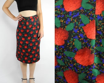HOLIDAY SALE 1980s silk pencil skirt / Argenti vintage rose skirt / floral geometric skirt with slit / size 4