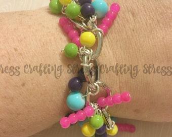 Fun Multicolored Summer Beaded Bracelet with Decorative Clasp
