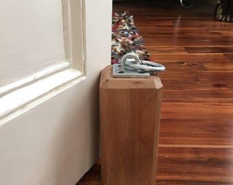 Solid Oak Doorstop With Galvanised Ring, Housewarming Present, Moving In Present, Rustic Homeware, Rustic Accessories, Nautical Accessories