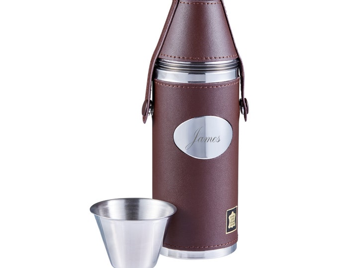 Personalised Engraved 8oz Stainless Steel & Leather Hunting Flask With 4 Cups