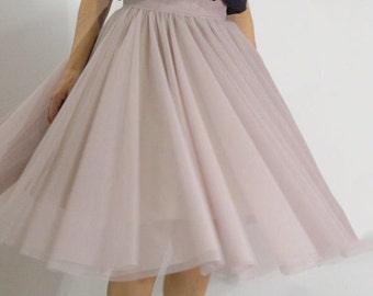 Women Tulle Skirt/Tutu Skirt/Princess Skirt/Skirt/Short Skirt/Grunch Skirt/Light Grey tulle Skirt/Ballet Skirt/Bridesmaid skirt/F1320