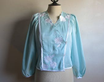 80s Natori Aqua Night Jacket Vintage Floral Applique Embroidered Matte Satin 1980s Bed Cardigan Petite Small